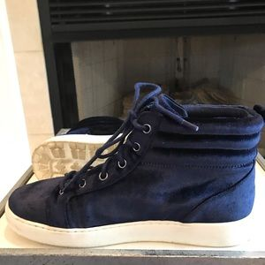 Nine West Velvet High Top Platform Sneakers